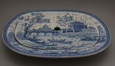 "Spode Pearlware Blue Transfer 'Tiber' Platter & Drainer Set, 1815, 14.25"" wide.   eBay Sold:  £245.00"