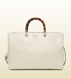 bamboo shopper leather tote in off white by Gucci