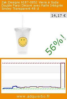 Zak Designs 6187-0852 Verre à Soda Double Paroi Décoré avec Paille Intégrée Smiley Transparent 48 cl (Cuisine). Réduction de 56%! Prix actuel 14,17 €, l'ancien prix était de 32,04 €. http://www.adquisitio.fr/zak-designs/6187-0852-verre-soda