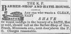 KP Barber and Bath House offers hot and cold baths (luxury of a bath!) as published in the Wyandotte Gazette of Kansas City, Kansas on July 13, 1871 | Old West Bath House | KristinHolt.com