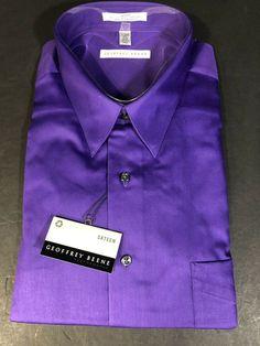 $95 GEOFFREY BEENE Men/'s CLASSIC-FIT OFF-WHITE WRINKLE-FREE DRESS SHIRT 17 36//37