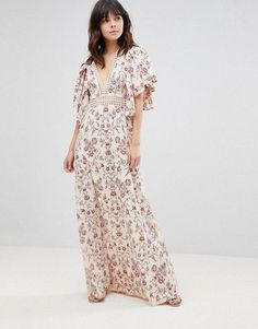 fea66badef4 online shopping for ASOS Floral Wallpaper Maxi Dress Broderie Trim from top  store. See new offer for ASOS Floral Wallpaper Maxi Dress Broderie Trim
