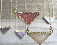 Druzy Necklace, Druzy Triangle Necklace, Gemstone Necklace, Druzy Jewelry, Drusy Necklace, Druzy Quartz
