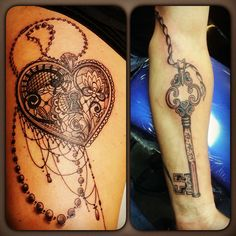 Matching Ink My husband and I's heart locket and key! Couples tattoos!