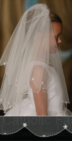 First Communion Veil with Scalloped Edge Embroidered Bead and Flower Accents