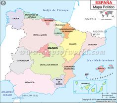 political map of spain illustrates the surrounding countries with international borders 17 autonomous communities boundaries with their capitals and the