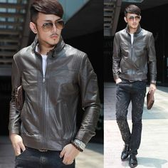 Buy Mens Gray Grey Leather Italian Fashion Fitted Casual Bomber Jacket  SKU-116112