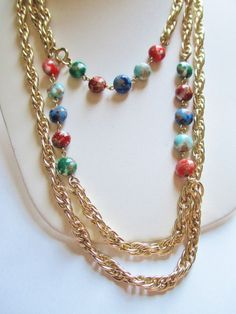 Vintage EMMONS 2 Pc Rope Chain Necklace Set Marbled Lucite Bead Chain Trim #Emmons