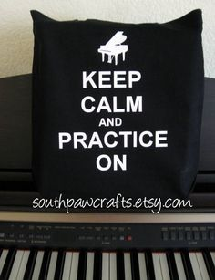 Keep Calm and Practice On Black Canvas Tote with Grand Piano or Music Note. $15.00, via Etsy.