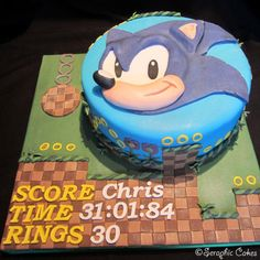 We were asked to make this Sonic cake on Tuesday and delivered it on Friday evening. We're really pleased with it. All you see is hand made no edible printing here. Sonic's face is 3D, with his nose, mouth, and facial features raised up. The side...