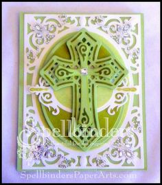 "Spellbinder dies: Crosses Two Shapeabilities, A2 Filigree Delight Card Creator.  Extras: Want2Scrap - Beautiful Bling Borders-Fancy That!; 72 Count - Silver/Clear Rhinestones. Bazzill white, green cs.       Cross Promotional Partners:     Bazzill Basics Paper® - White,Green card  SCRAPBOOK ADHESIVES BY 3L™ - Crafty Power Tape; 3D Foam Dots  Scor-Pal® - 1/4"" Tape  Beacon Adhesives - Zip Dry Paper Glue  Scrapbook Adhesives"