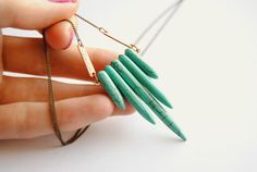 Turquoise Spike Shield Necklace  Free Shipping in by SPARKLEFARM, $28.00