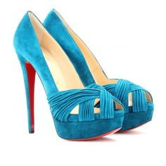 Christian Louboutin Aborina 150 Suede Peep-Toe Platform Pumps ($995) ❤ liked on Polyvore