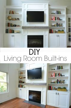 Living Room Built-In Cabinets.  Love the molding and barnwood mantel!
