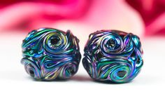 Sea Shimmer - Pair - Handcrafted Sea Inspired Lampwork Glass Beads by Clare Scott SRA Black Metallic