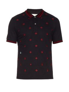 b24eea773fa0a GUCCI Bee And Star-Embroidered Cotton Polo Shirt