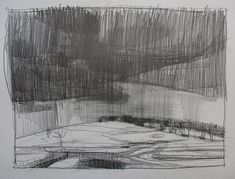 North Showers, Original Plein Air Spring Landscape Pencil Drawing on Paper, 11 x 15 Inches, Stooshinoff