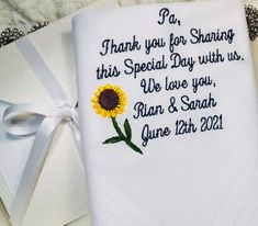 Sunflower Wedding Handkerchief Wedding Gift for Grandfather | Etsy Wedding Gifts For Groom, Wedding Ties, Personalized Wedding Gifts, Bride Gifts, Party Wedding, Grandfather Gifts, Grandpa Gifts, Father Of The Bride, You Are The Father
