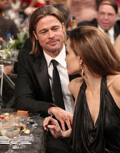 Angelina Jolie and Brad Pitt were seated front and center for last night's Screen Actors Guild Awards show. Angelina and Brad met up with George Clooney and Angelina And Brad Pitt, Brad And Angie, Bradd Pitt, Jolie Pitt, The Way He Looks, Star Wars, Famous Couples, Best Couple, Couple Style