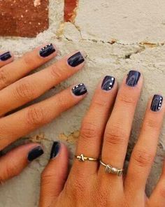 White on navy nails