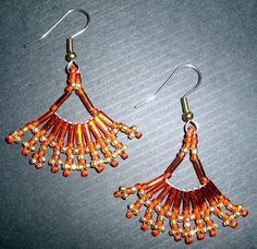 Native American Beaded Earrings (Red and Gold Fan Fare)