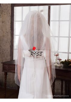 Fingertip Wedding Veil Bridal Veil Full 3 Layer Simple Tulle Veil with Comb Style BV022 - Wedding Veil