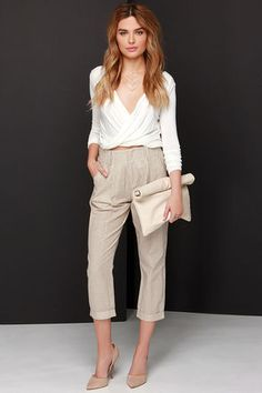 #SALE Whenever you wear the One Liner Brown and Cream Striped Pants, you can count on your outfit to always deliver! Shop the #SALE at #Lulus
