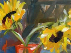 "Daily Paintworks - ""Sunflowers in Red Vase Painting"" - Original Fine Art for Sale - © Angela Moulton"