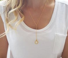 Gold pendant necklace Y necklace Long drop by HLcollection on Etsy