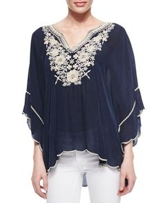 Embroidered Georgette Poncho Tunic by Johnny Was Collection at Neiman Marcus.