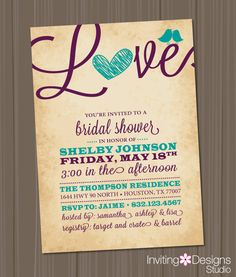 Bridal Shower Invitation Love Birds Heart - purple and turquoise