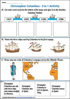 Grab our worksheets on famous explorers of the world to identify them, know their nationalities, and the sea routes. 7th Grade Social Studies, Social Studies Lesson Plans, Social Studies Worksheets, Christopher Columbus For Kids, Teaching American History, Social Skills For Kids, Science Fair, Fun Learning, Socialism
