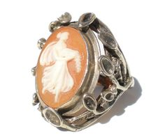 Art Nouveau Revival Ring Cameo Woman Carved Shell Holding