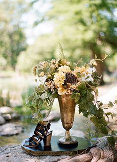 beautiful tarnished metal goblet vase