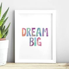 Dream Big http://www.amazon.com/dp/B016FFEH3Y word art print poster black white motivational quote inspirational words of wisdom motivationmonday Scandinavian fashionista fitness inspiration motivation typography home decor