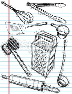 Sketchy, hand drawn kitchen utensils on notebook paper. - Sketchy, hand drawn kitchen utensils on notebook paper. The items included are a whisk, tongs, spat - Basic Drawing, Food Drawing, Drawing Sketches, Art Drawings, Sketching, Kitchen Drawing, Kitchen Art, Service Assiette, Food Sketch