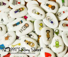 Idea: Story stones - decoupage designs rather than draw them . . . hmmm