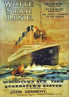 White Star Titanic Queenstown-New York 1911 - www.MadMenArt.com features over 500 Vintage Ocean Liner Ads, Posters and Magazine Covers from 1891 until 1970. #Vintage #OceanLiners #Ships #Boats #Steamboats #Navy #Nautics #Shipping