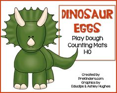 These Dinosaur Play Dough Counting Mats will help your pre-k kids learn counting skills while playing and exercising their fine motor muscles. These will go great with a Dinosaur Theme. You can also find many Dinosaur Theme Preschool, Dinosaur Play, Dinosaur Activities, Preschool Themes, Dinosaur Eggs, Preschool Crafts, Playdough Activities, Pre K Activities, Kindergarten Activities