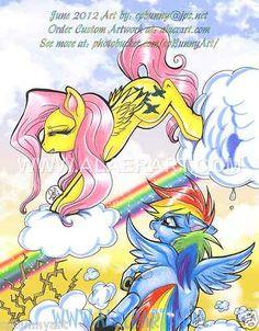 My Little Pony Friendship is Magic Rainbow Dash Fluttershy Cloud Kick Art 2pSet!