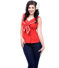 1950s Tops- 1950s Style Red Button Up Sailor Bow Blouse $48.00 #1950sfashion #retro #vintage