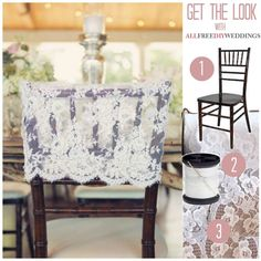 Lace Chair Back Cover | Give your wedding chairs a little something extra with these lacy covers.