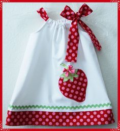 Berry Sweet Summer Spring Applique side bow dress. $25.00, via Etsy.