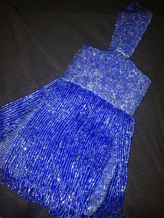 Antique 1920s Irridescent Blue Beaded Purse