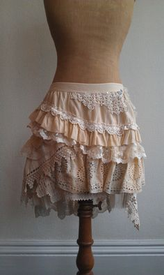 The Adria Skirt cream tattered vintage lace layered by RavensNook