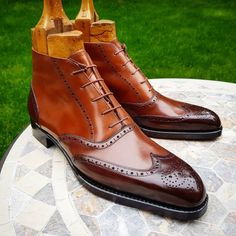 The 3 tone Cognac Ankle Budapest Boots by Vass. Made on the striking K last with its narrow chiseled toes. (at Boots)