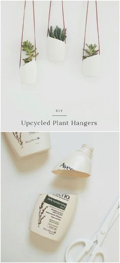 20 Cheap And Easy DIY Hanging Planters That Add Beautiful Style To Any Room - U. - 20 Cheap And Easy DIY Hanging Planters That Add Beautiful Style To Any Room – Upcycled Plastic Bottle Hanging Planters – Upcycled Crafts, Upcycled Home Decor, Recycled Decor, Diy Crafts Cheap, Recycled Bottle Crafts, Reuse Plastic Bottles, Plastic Bottle Crafts, Plastic Bottle Planter, Plastic Recycling