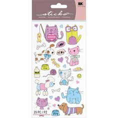 Cats & Dogs Stickers • For Pet Lovers • Meow • Woof • Cute Sticker • Kawaii • Yarn • Bone • Kitty • Puppy • Love • Heart • Fish (52-00037) on Etsy, $2.03 AUD
