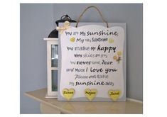 You are my sunshine Personalised Plaque. Wall Plaque for the Personalized Plaques, School Signs, You Make Me Happy, Hanging Signs, You Are My Sunshine, Christmas Signs, Wall Plaques, Thoughtful Gifts, House Warming