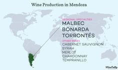 """[infographic] """"Wine Production & Grape varieties in Mendoza, Argentina"""" Apr-2014 by Winefolly.com"""